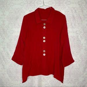 Fridaze Linen Lagenlook Susan's Jacket Red Medium